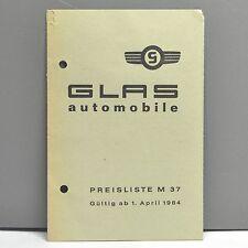 ✇ GLAS GoGGO ISAR S1004 1204 1500 1300 GT original Preisliste von April 1964