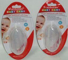 2 Brush Buddies Baby Care Infant Finger Toothbrush With Case BPA Free 0-3 YR NIP
