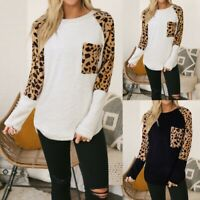 Fashion Womens Casual Shirt Plush Long Sleeve Leopard Print Splice Tops Blouse