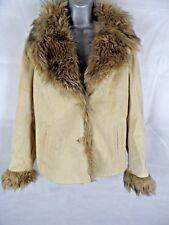 Womens Beige Suede Faux Fur Coat by Oakwood Size 18 Plus Size Autumn Winter Warm