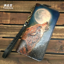 Chinese tranditional wolf king long wallet genuine leather handmade mens wallet