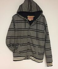BROOKLYN CLOTH KNIT VARSITY JACKET Hooded SHERPA Lined SNAP FRONT Size Large