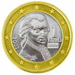 2002  AUSTRIA 1 EURO BU KM# 3088  WOLFGANG AMADEUS MOZART 1ST YEAR  EURO'S BU