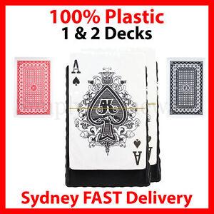 2 Pack Playing Cards Plastic Decks Card Games Deck Waterproof Case Black & Red