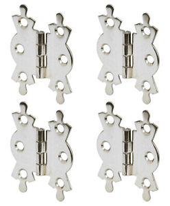 """4 x Polished Chrome Butterfly Butt Hinge Hinges 50mm 2"""" Cupboard Cabinet Box"""
