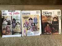 """Lot of 3 VINTAGE Various Dolls Sewing PATTERNS (22"""", 25"""", 27"""") NEW & UNCUT!"""