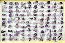 Wholesale Jewelry Lots 10pcs Silver Plated Amethyst Agate Stone Rings Free