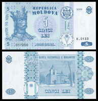 Moldavie 5 Lei. NEUF 2009 Billet de banque Cat# P.9f