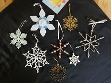 Snowflake Ornaments Lot of 8 White Gold Acrylic Metal Felt Beads Christmas