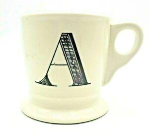 "Anthropologie Monogram Mug Initial ""A"" White Black Footed Shaving Style 12 oz"
