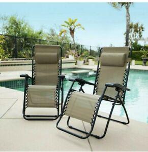 Caravan Sports Caravan Beige Metal Infinity Zero Gravity Patio Chair (2-Pack)