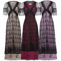 LADY Women V-Neck Vintage Victorian Long Maxi Gown Edwardian Evening Party Dress