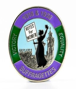 SUFFRAGETTE - WOMENS RIGHTS - VOTES FOR WOMEN - BRITISH MADE - ENAMEL BADGE