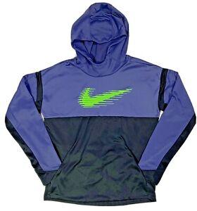 Nike Dri-Fit Women's XL Purple Black Pullover Hoodie Sweatshirt Big Green Check