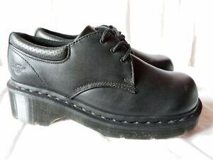 Dr Doc Martens Chunky Platform Shoes  Francesca Oxford Black Leather Womens Sz 7