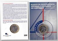 CAPE VERDE - BIMETAL UNC 250 ESCUDOS COIN 2015 YEAR 40th INDEPENDENCE IN BLISTER