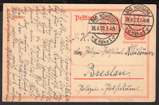 339 GERMANY PS STATIONERY POSTAL CARD 1922 INFLATION BAD HOMBURG - BRESLAU