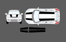 Suzuki Swift 2010-17 Roof & Bonnet 911R Style Stripe Decal Graphic Sticker Set
