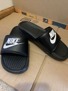NEW Nike Benassi JDI Men's  343880-090 Size Black/White Slides Sandals