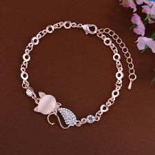 Lovely Cat Pendant Women Opal Rhinestone Bangle Bracelet Chain Jewelry Innovate