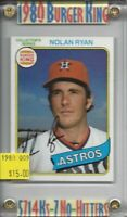Nolan Ryan Houston Astros 1980 Burger King 9/34  BV-$15 Buy 1-Get 1 FREE!