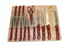 MASTERCHEF RED 15 pc KITCHEN KNIFE SET W/WOOD CUTTING BOARD STEAK KNIVES SHEARS