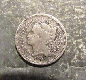 1869 U.S. Nickel Three Cent Piece