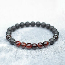 RED TIGER EYE LAVA DIFFUSER BRACELET NATURAL STONE STRETCH FIT DESIGN