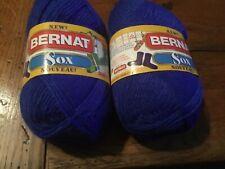 New listing 2 Bernat Sox Acrylic Nylon Super Fine Weight Yarn Blue Hot 1.75 oz ea #80/W