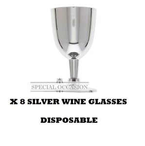 X16 SILVER WINE GLASSES Plastic Disposable Wedding anniversary party tableware