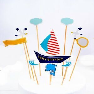 Ozean Delfin Kuchen Topper Torte Deko Geburtstag Happy Birthday 11-teilig