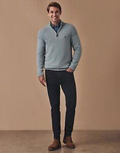 CREW CLOTHING Lambswool Blend 1/4 Zip Jumper Knit Mist Blue Green - New RRP £75