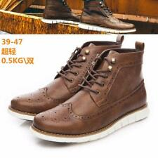 Men's High Top Ankle Boots pu Leather Oxford Lace Up Casual Formal Dress Shoes