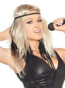 Ke$ha Blonde Trashy Pop Star Boho Wig with Black Braided Headband with Feather