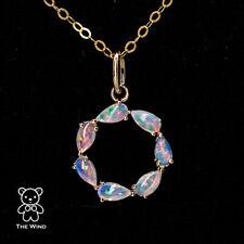 Eternity Love Australian Crystal Opal Circle Necklace Pendant 14K Yellow Gold