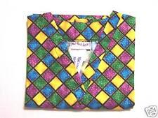 Harlequin Scrub Top - XS 100% Cotton Multi-Color Diamonds Unisex MAS