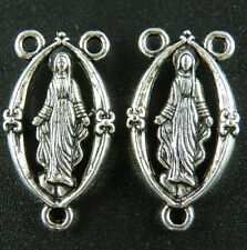 35pcs Tibetan Silver Rosary Mary Connectors 25x14mm 13001