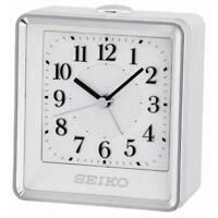 Seiko QHE142W High Quality Bedside Beep Alarm Clock with Flashing Light - White