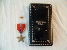Vtg Bronze Star Medal WWII US Army Navy Air Force USMC Military Lapel Pin Case