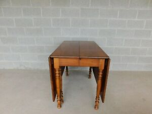 """L & J G Stickley Cherry Valley Drop Side Dining Extension Table 90""""W"""