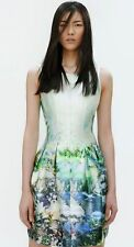 ZARA NEW BLUE GREEN DRESS FLARE SKIRT PHOTO FISH OCEAN PRINT MEDIUM 12 SOLD OUT