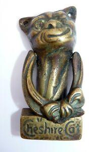 Antique Brass Door Knocker, Cheshire Cat, Hardware Salvage Vintage Old