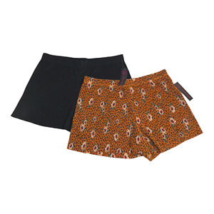Women's Junior Shorts Pleated LARGE 11-13 Black & Gold Floral No Hem Sheer 2 Pc