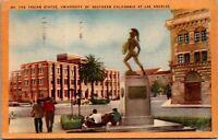 Vtg 1930's Trojan Statue, University of Souhern California CA Postcard