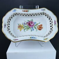Hand Painted Schierholz Dresden Flowers Reticulated Oval Bowl