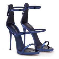 Women Ankle Strap High Heels Stiletto Zipper Sandal Faux Leather Round Toe Shoes