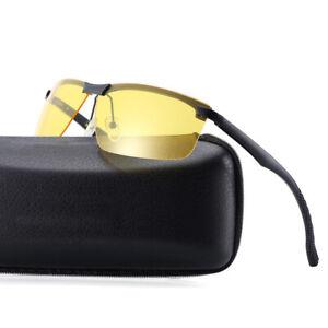 Men's Polarized Sunglasses Night Vision Goggles Driving Sports Rain Fog Glasses