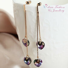 18K Rose Gold Plated Made With Swarovski Crystal Double Heart Drop Earrings
