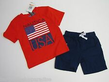 NWT Nautica 2 Pc USA Amerian Set Tee T-Shirt & Shorts Baby Infant Boys 12M $38