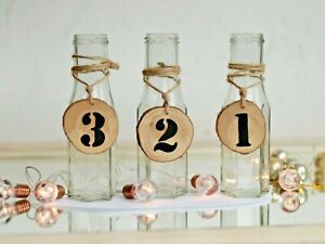 1 Glass vase- table number Rustic Wedding Vintage Christmas Table centerpiece